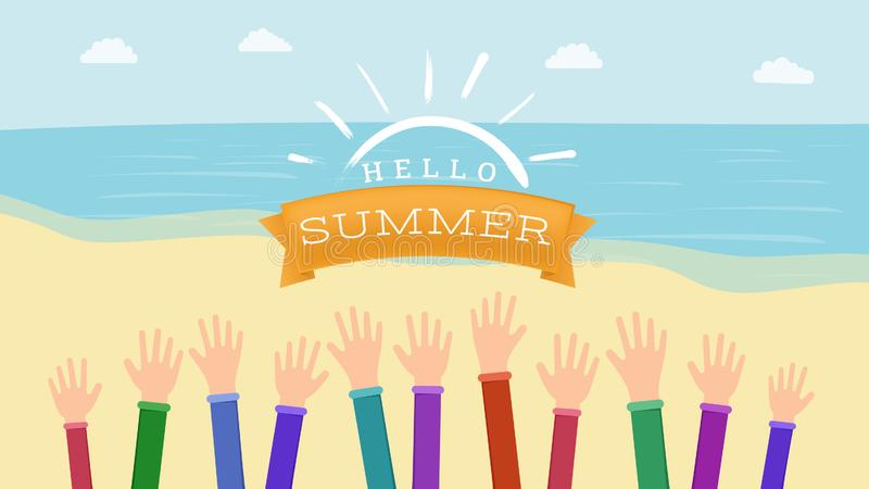 Welcoming summertime flat vector banner. Raised hands with greeting warm season gesture. Hello summer inscription on vector illustration