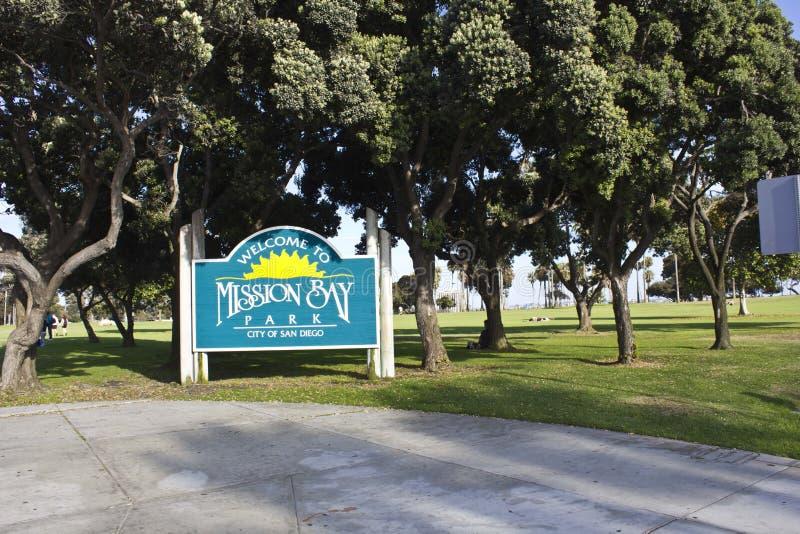 Welcone aan het Park van de Opdrachtbaai, San Diego stock foto