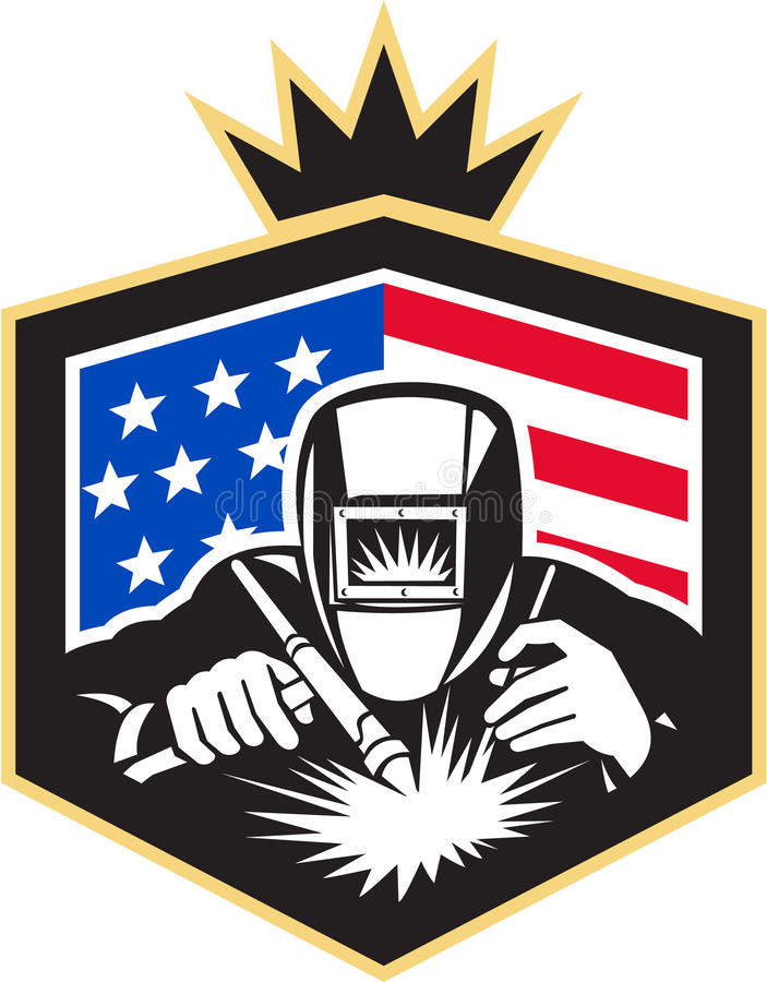 Welder Arc Welding USA Flag Crest Retro. Illustration of welder arc welding viewed from front set inside shield with usa american stars and stripes flag in the stock illustration