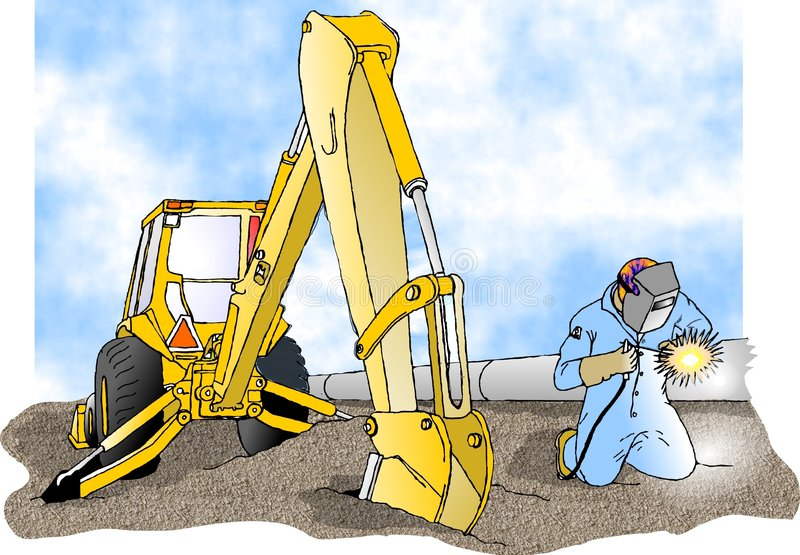 Welder and a backhoe. This illustration that I created depicts a man arc welding on a large pipe with a backhoe to his side royalty free illustration