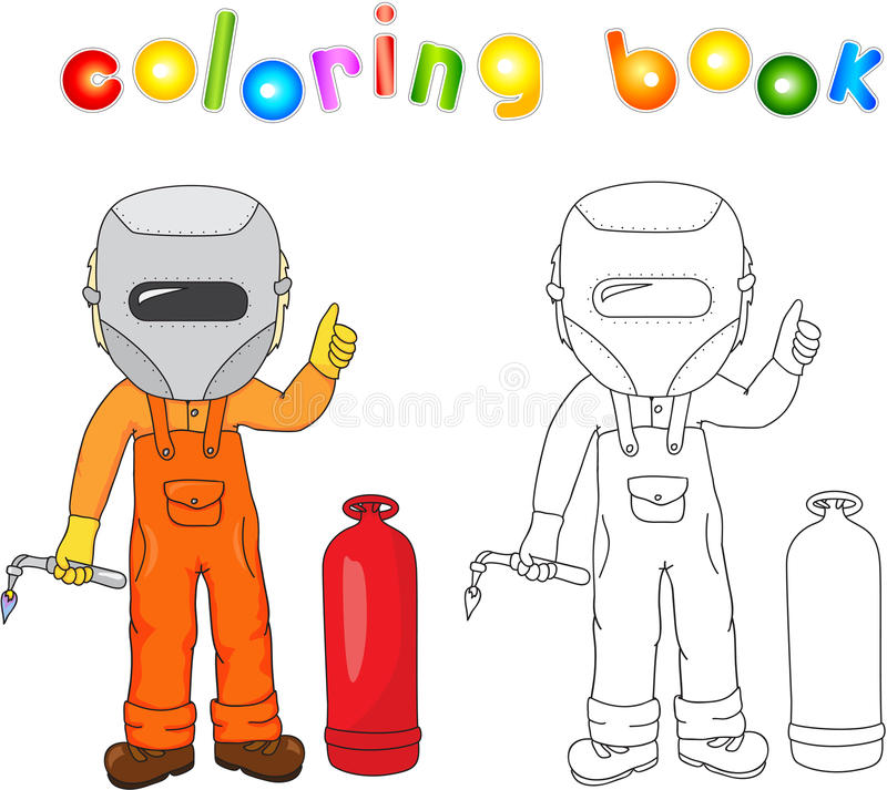 Welder in boilersuit and protective mask with a gas burner and g. As balloon. Coloring book. Vector illustration vector illustration