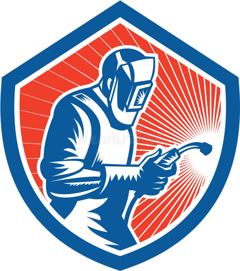 Free Welder Fabricator Welding Torch Side Shield Retro Royalty Free Stock Images - 39009589