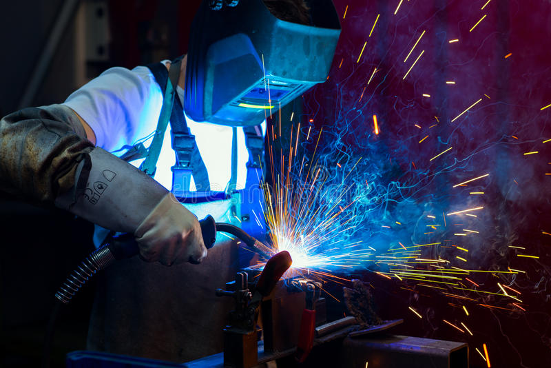 Download Welder in factory stock photo. Image of production, fire - 83709886