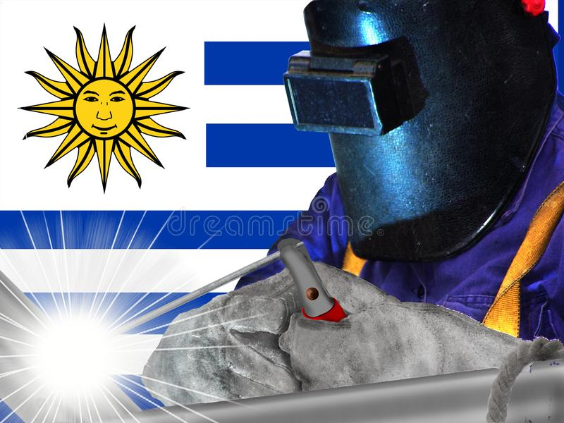 Welder and flag of Uruguy. The national flag of Uruguay is one of the three official flags of Uruguay alongside with the Flag of Artigas and the Flag of the royalty free illustration