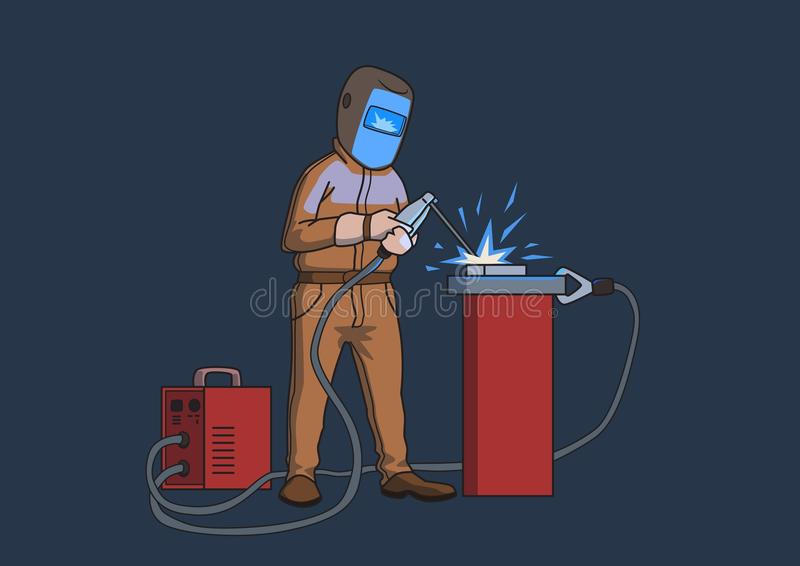 Welder in a protective mask at work. Cartoon vector illustration isolated on dark background. royalty free illustration