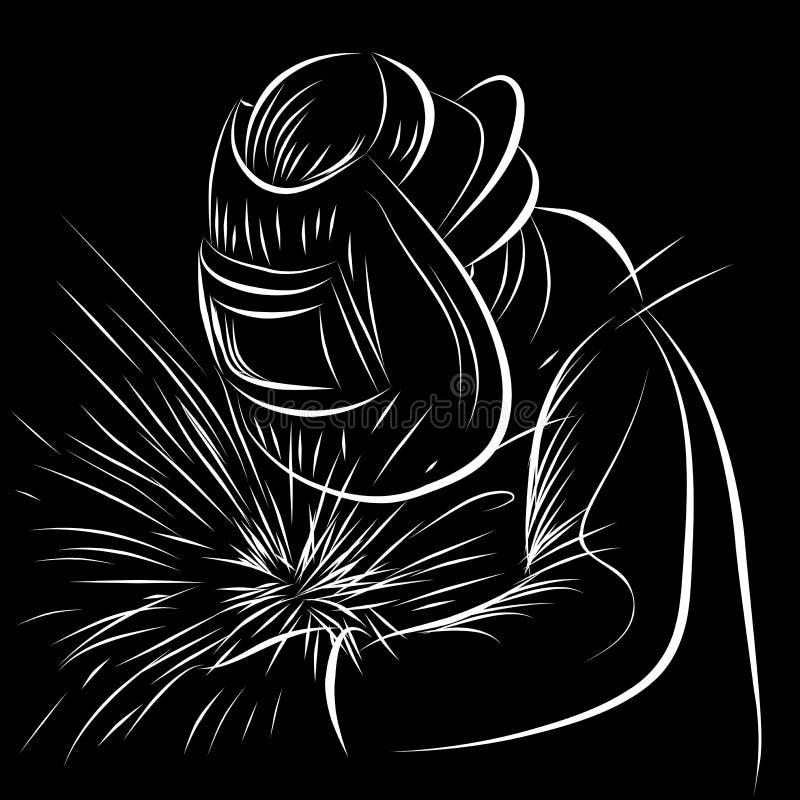 Welder Scratchboard Style vector illustration