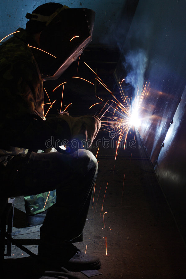 Welder sparks royalty free stock photos
