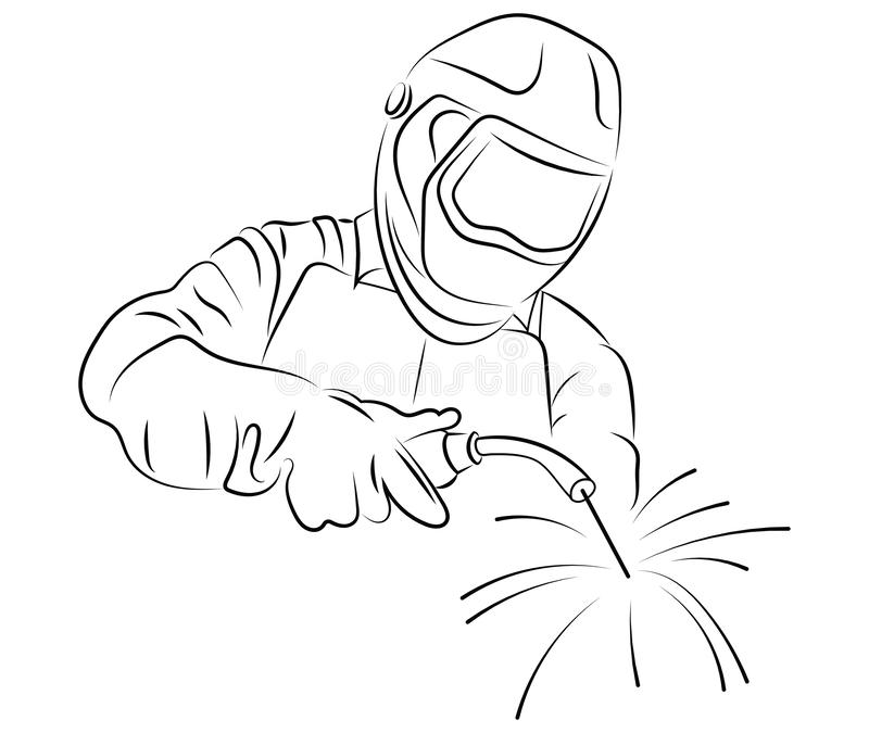 Welder Logo Black And White Illustration Of A Welder In Work Vector Drawing Of A Man Welding Metal Stylized Welder Stock Vector Illustration Of Drawing Protection 157739964