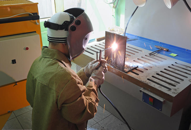 Welder at work. Young welder at work, Russia stock photo