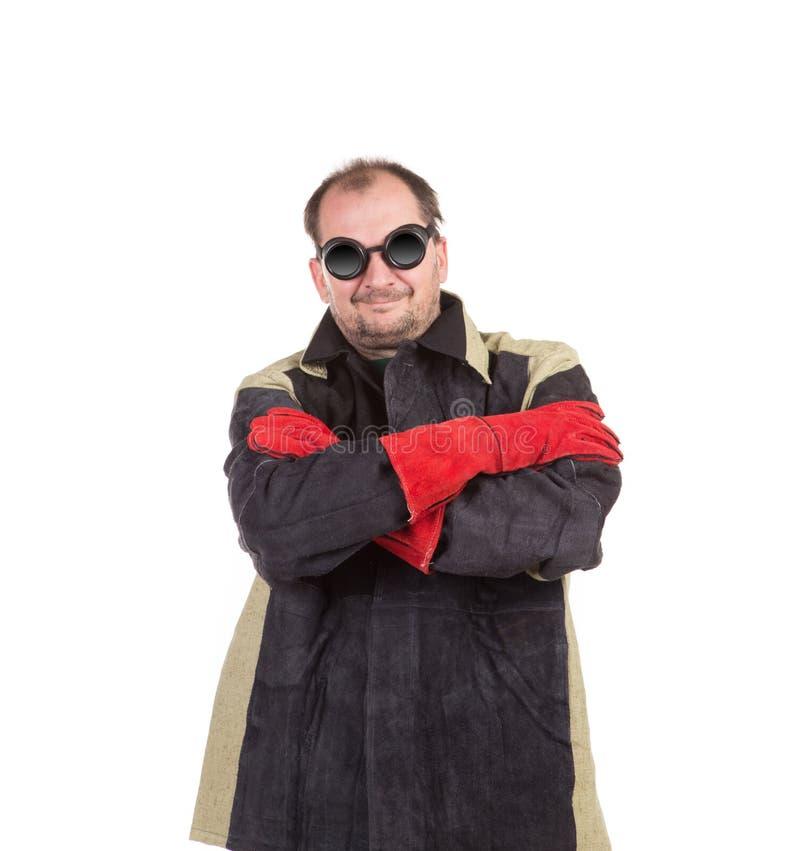 Welder in workwear suit. stock photo