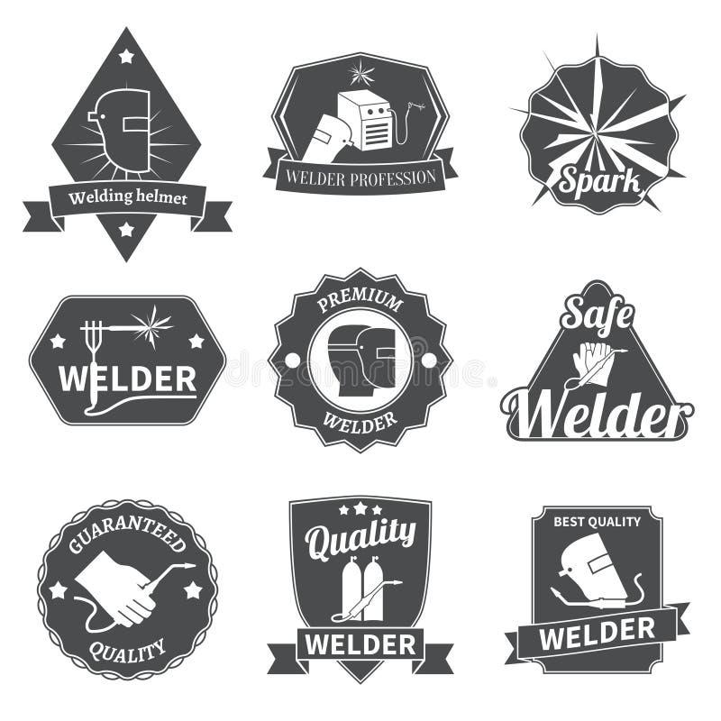 Welderetikettuppsättning stock illustrationer