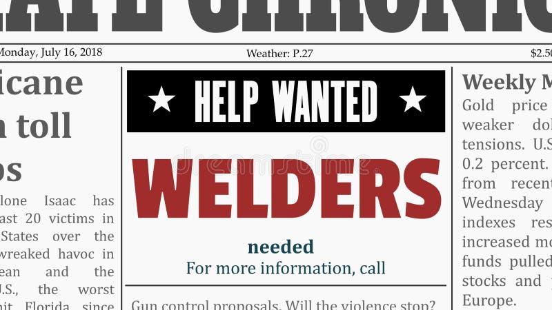Welders classified ad. Welders job offer. Newspaper classified ad in fake generic newspaper royalty free illustration