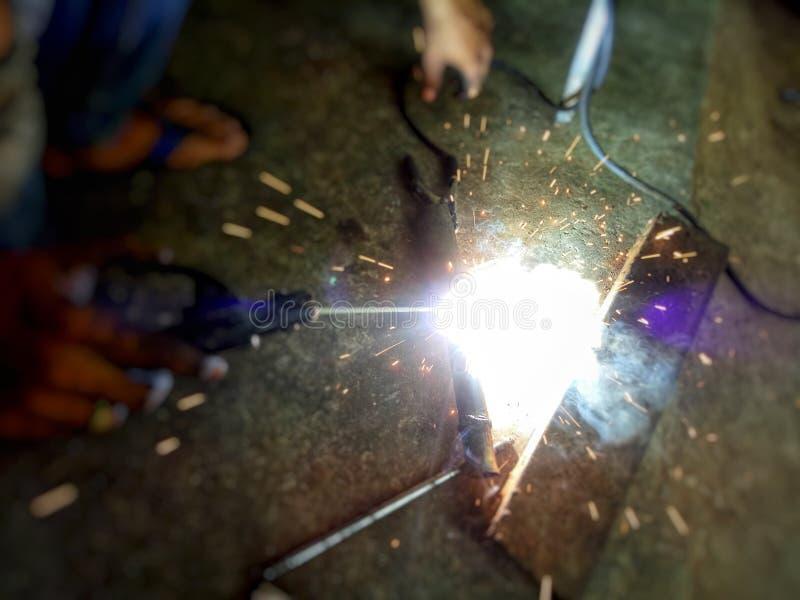 Welders are welded steel. stock images
