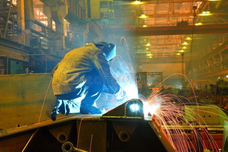 Welding. Welder at factory workshop - welding process