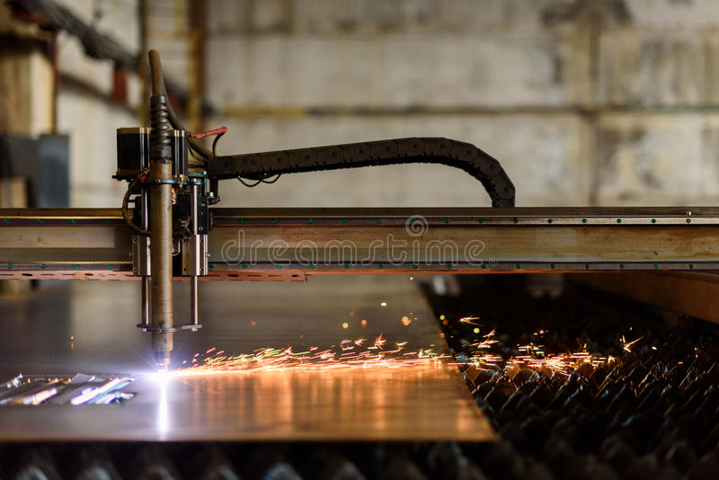 Welding device cutting plate on the heavy industry plant stock photos