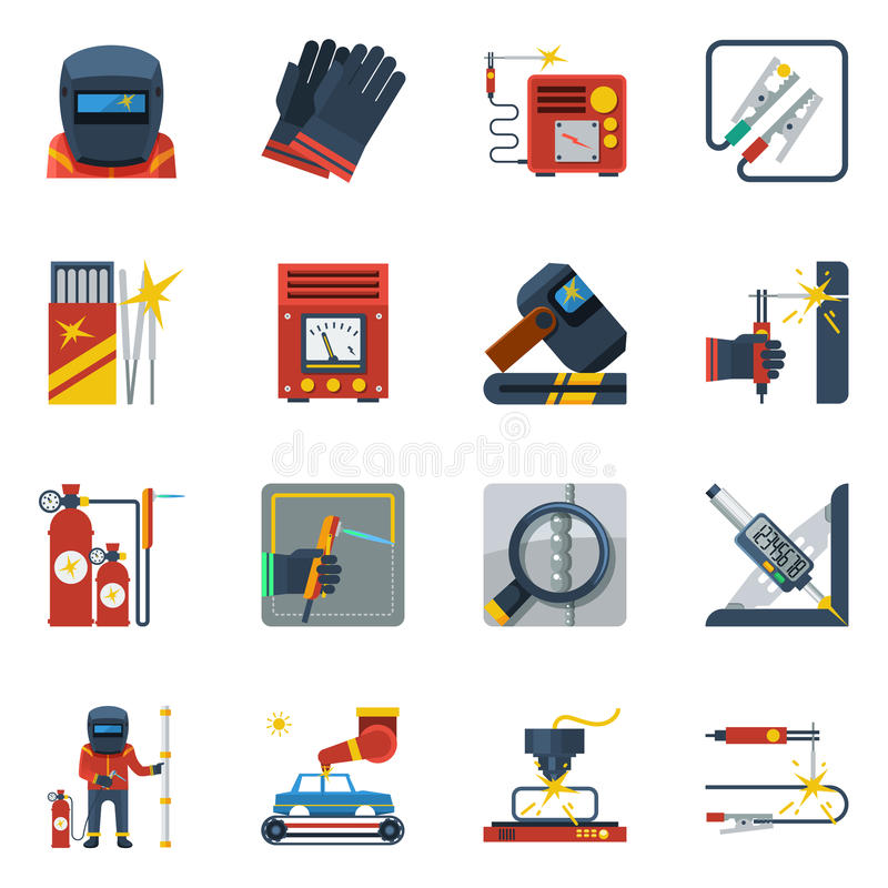 Welding Flat Color Icons vector illustration