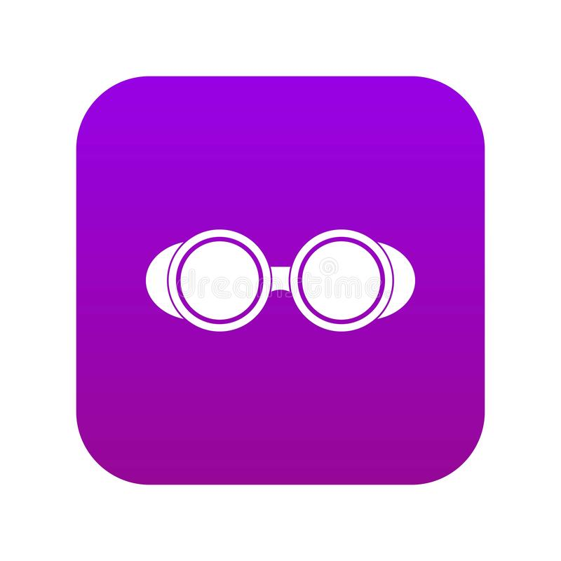 Welding glasses icon digital purple. For any design isolated on white vector illustration stock illustration
