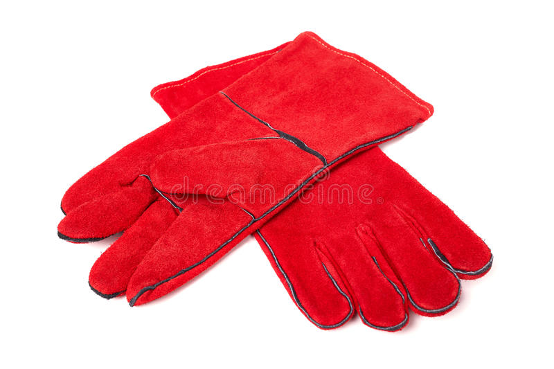 Welding gloves isolated on a white background stock photo