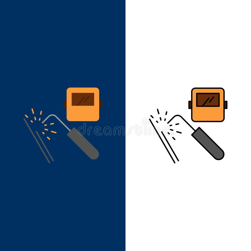 Welding, Machine, Mask, Factory, Industry  Icons. Flat and Line Filled Icon Set Vector Blue Background vector illustration