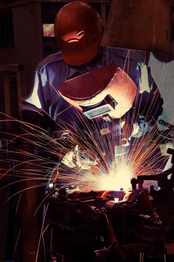 Welding operator. On work place stock images