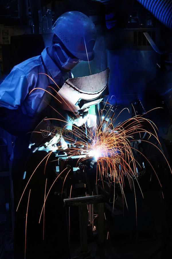 Welding operator. On work place royalty free stock image