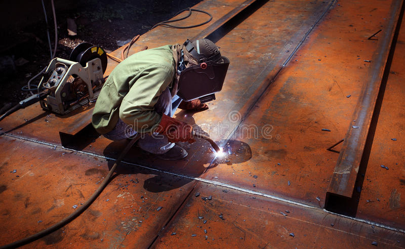 Welding operator. On the work palace stock photography