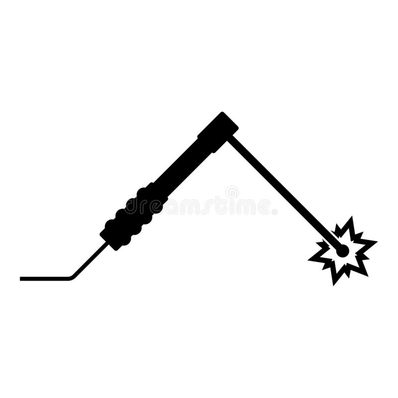 Welding Process Spark From Electrode With Torch Work And Tools Concept Icon Black Color Vector Illustration Flat Style Image Stock Vector Illustration Of Tool Weld 164791612
