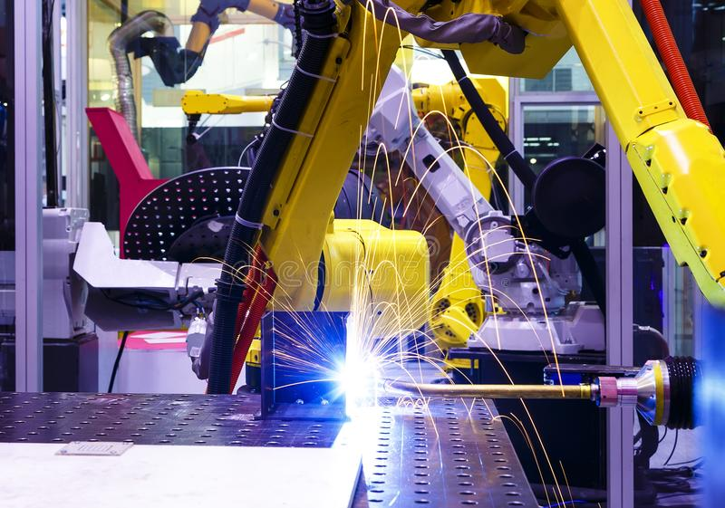 Welding Robot Machine Automotive Industry stock photography