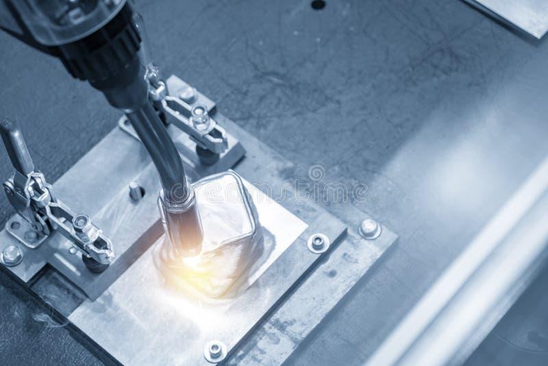 The welding robot machine for welding automotive part stock photos