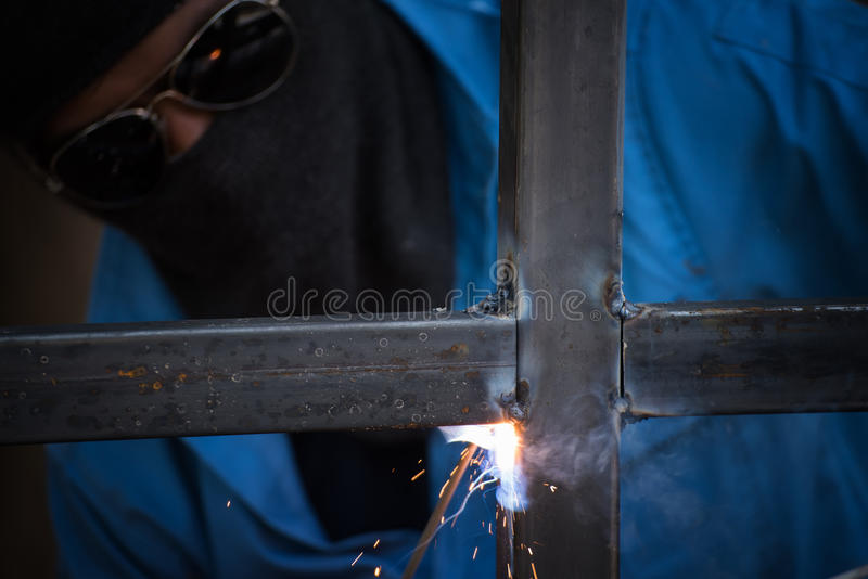 Welding and spark. Welding steel structure and spark royalty free stock photography
