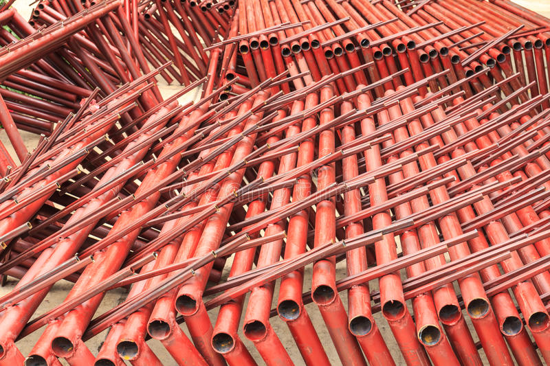 Welding steel pipe. For structure car park royalty free stock image
