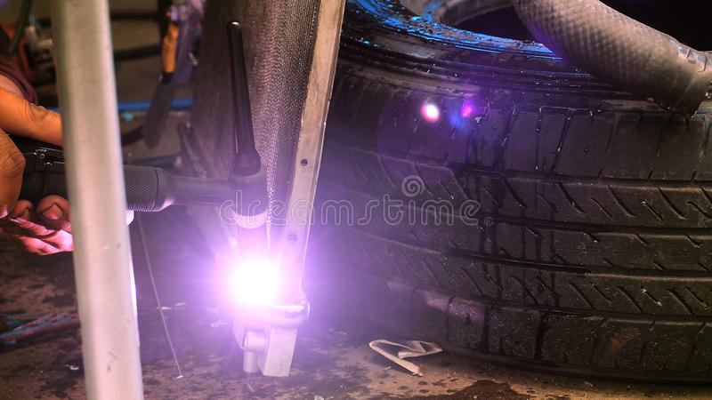 Welding steel of Valve and how to fire zoom in royalty free stock photography