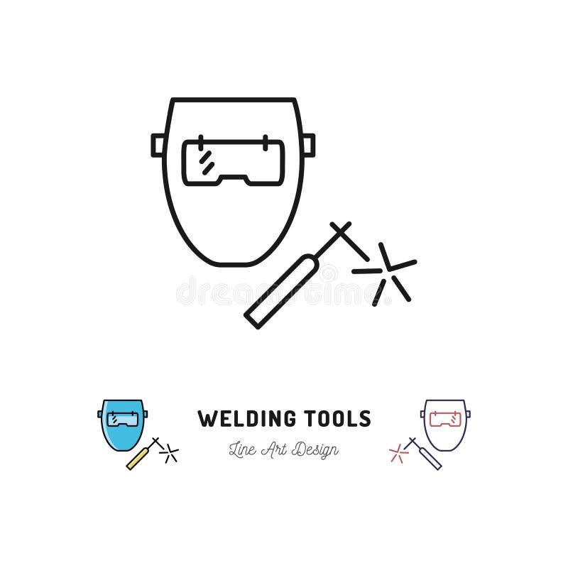 Welding tools icon, Welding machine and welder mask. Vector thin line art symbol. Welding tools icon, Welding machine and welder mask, Vector thin line art vector illustration