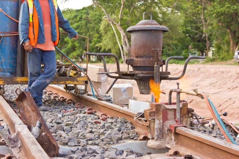 Welding tracks,the thermit rail welding. stock image