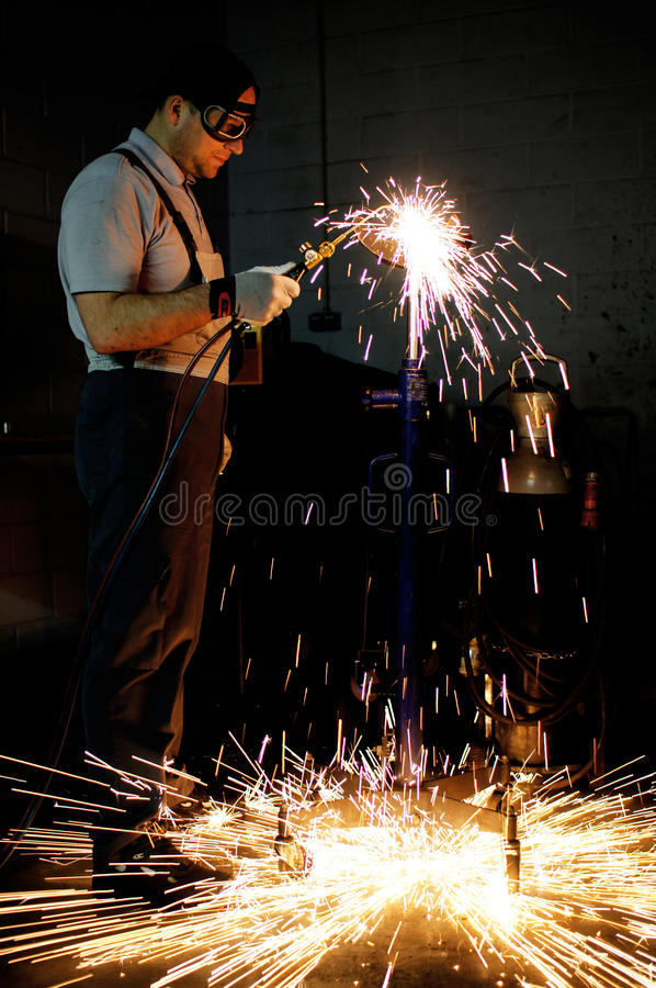 Download Welding worker in factory stock image. Image of manufacture - 23887187