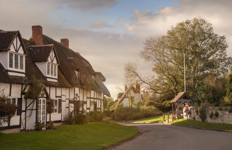 Welford on Avon village, Warwickshire, England. Tudor cottages at Welford on Avon village, Warwickshire, England royalty free stock image