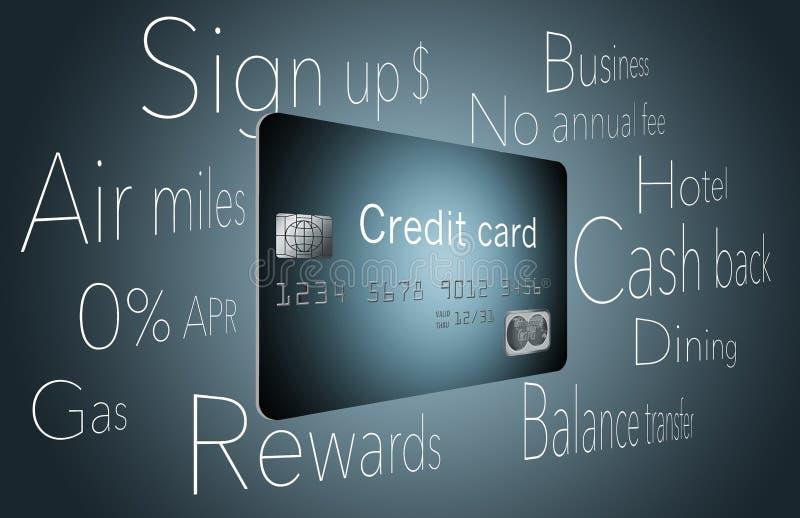 Welke creditcard zou u moeten kiezen? Er zijn vele opties van de beloningen van luchtmijlen om achterbonussen en meer te innen royalty-vrije illustratie