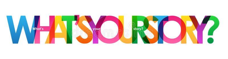 WELKE ` S UW VERHAAL? kleurrijke overlappende brievenbanner stock illustratie
