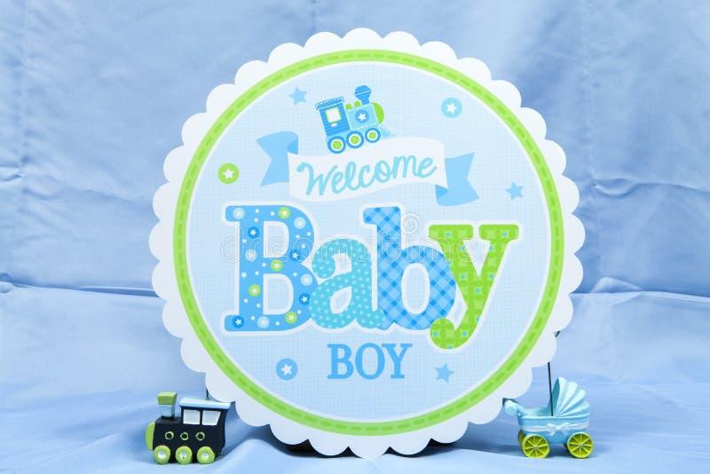 Welkom babyjongen stock foto