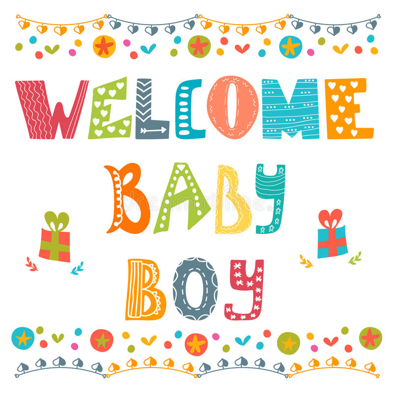 Welkom babyjongen De kaart van de de jongensaankomst van de baby De douchekaart van de babyjongen stock illustratie