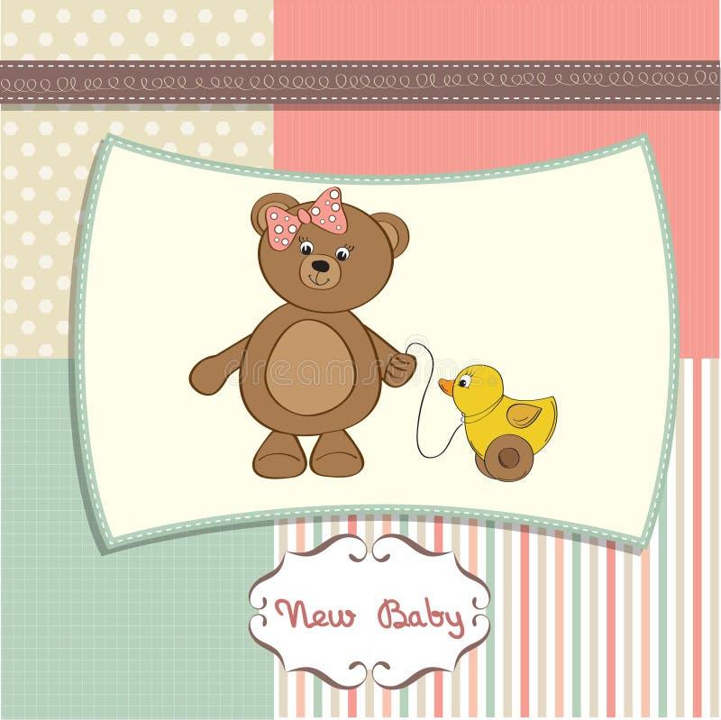 Welkom babykaart met meisjesteddybeer royalty-vrije illustratie