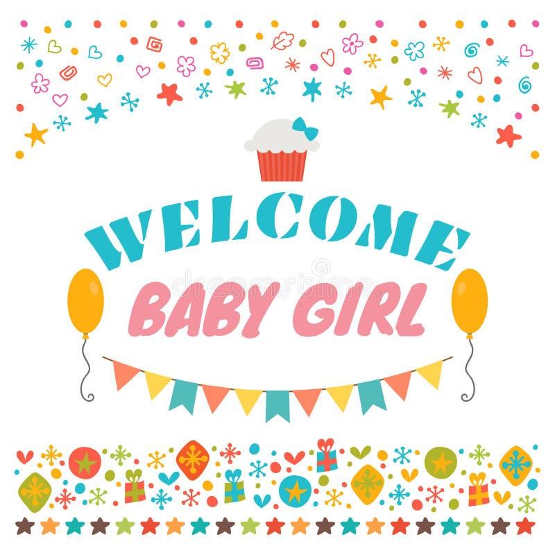 Welkom babymeisje Aankondigingskaart De groetkaart van de babydouche royalty-vrije illustratie