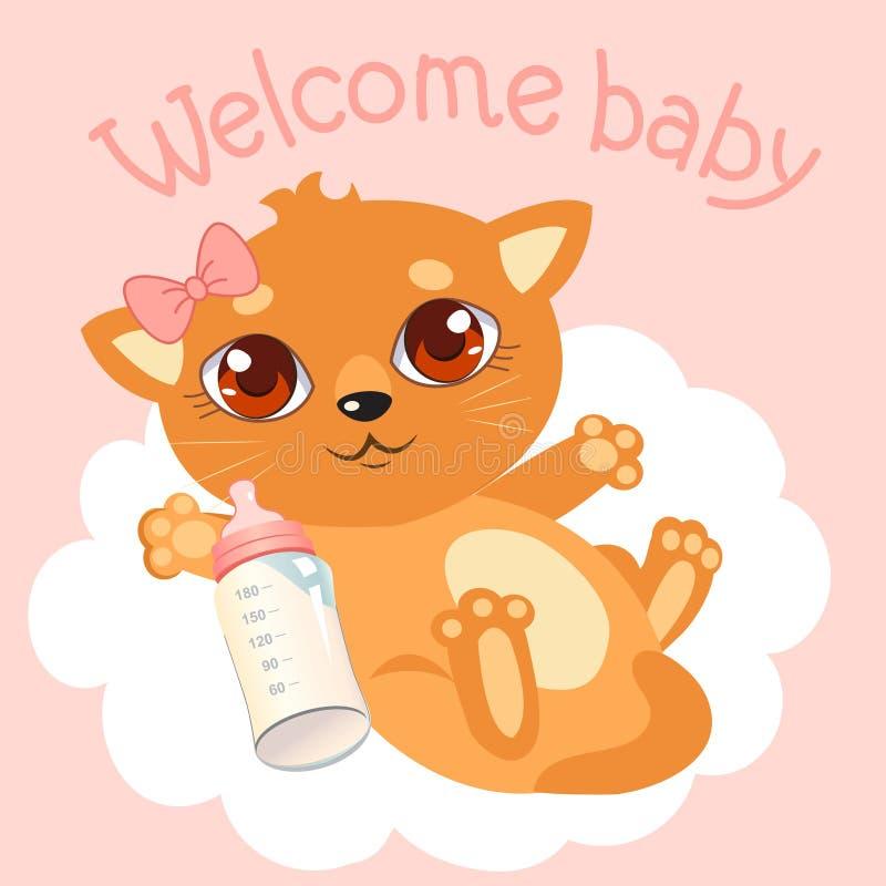 Welkom babymeisje Pasgeboren babykat Welkom Babyuitnodiging De Kaart van de Welcomуbaby stock illustratie