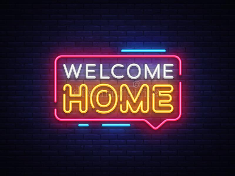 Welkom de Tekstvector van het Huisneon Het welkom teken van het Huisneon, ontwerpmalplaatje, modern tendensontwerp, het uithangbo vector illustratie