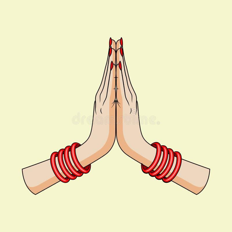 Welkom gebaar van handen van Indische vrouw royalty-vrije illustratie