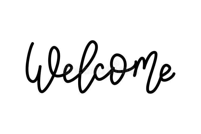 Welkom Hand het Van letters voorzien woord Het met de hand geschreven moderne teken van de monolinetypografie Rebecca 36 Vector i royalty-vrije illustratie