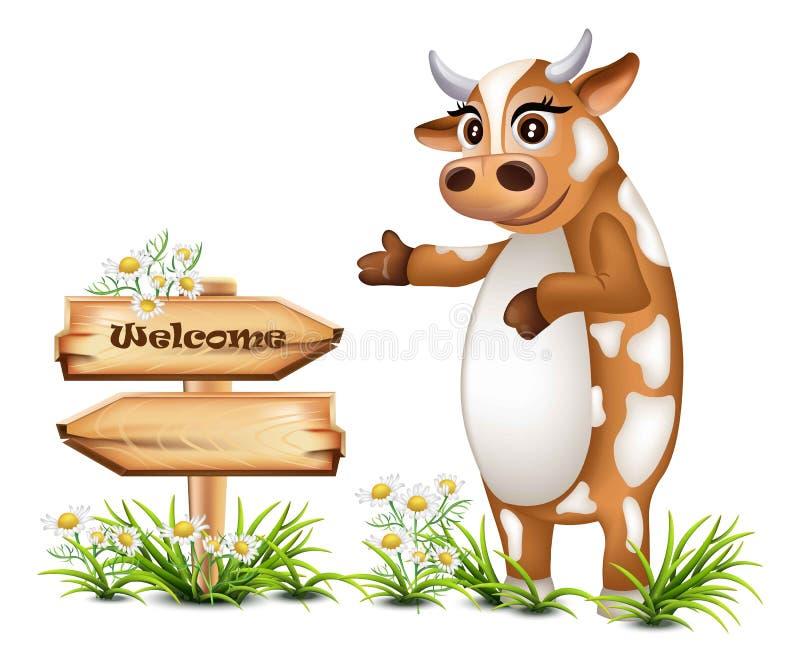 Welkom houten teken met een gelukkige koe Vectorillustraties royalty-vrije illustratie