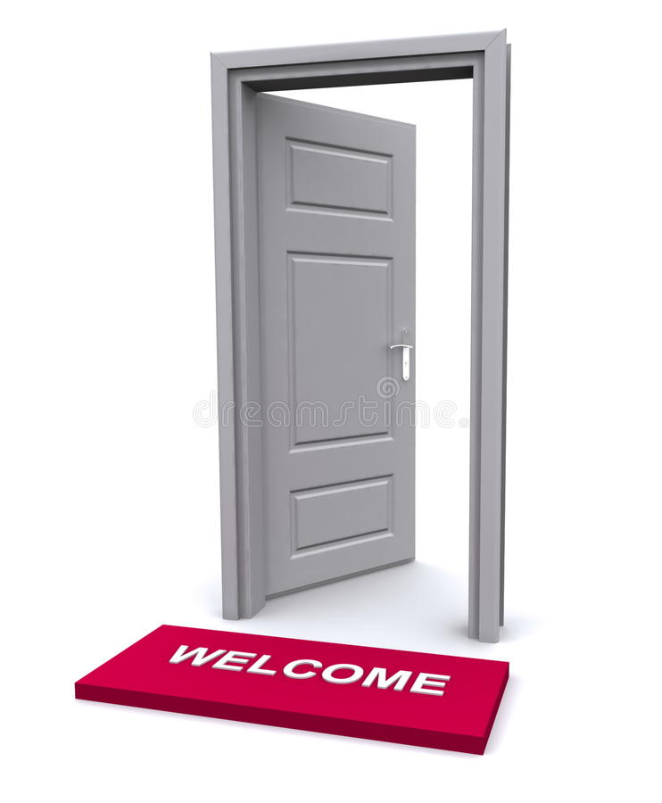 Welkom mat en open deur vector illustratie
