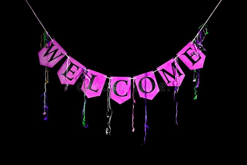 Welkom partijbanner Roze bunting brieven die het woord spellen wel royalty-vrije stock afbeeldingen