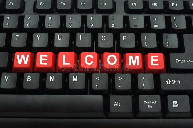 Welkom rode knoop op zwart toetsenbord royalty-vrije stock afbeeldingen